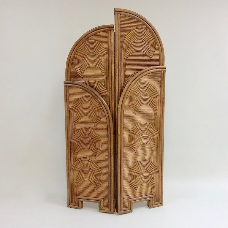 Italian Impressive Bamboo Four-Panel Screen, circa 1970, Italy For Sale