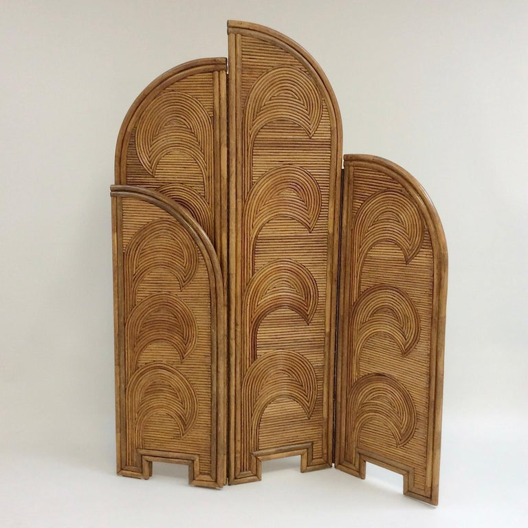 Impressive Bamboo Four-Panel Screen, circa 1970, Italy In Good Condition For Sale In Brussels, BE