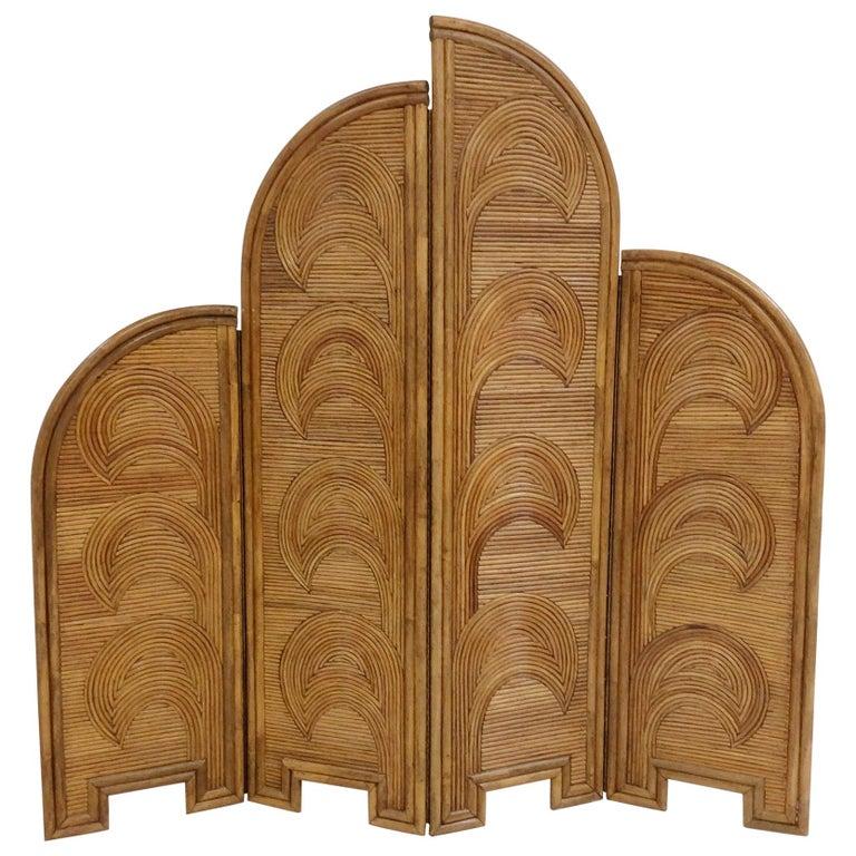 Impressive Bamboo Four-Panel Screen, circa 1970, Italy For Sale