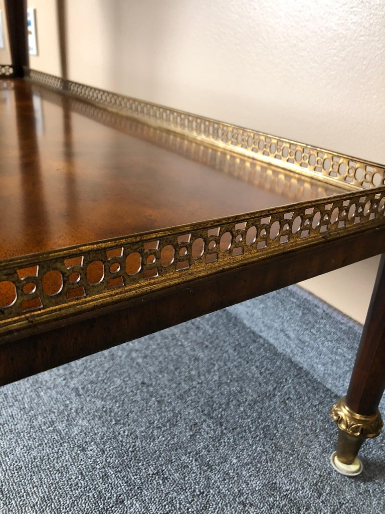 Impressive Maitland Smith Crotch Mahogany Regency Style Sideboard Console Table For Sale 4