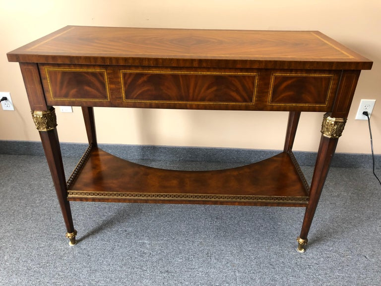 Impressive Maitland Smith Crotch Mahogany Regency Style Sideboard Console Table For Sale 5