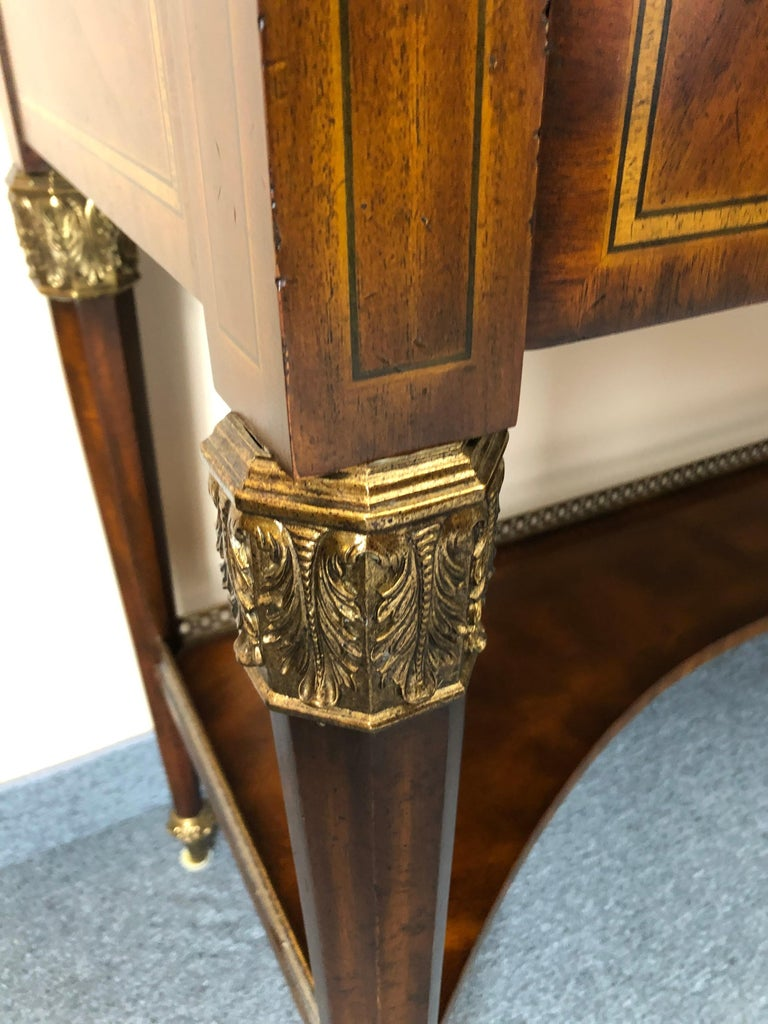 Brass Impressive Maitland Smith Crotch Mahogany Regency Style Sideboard Console Table For Sale