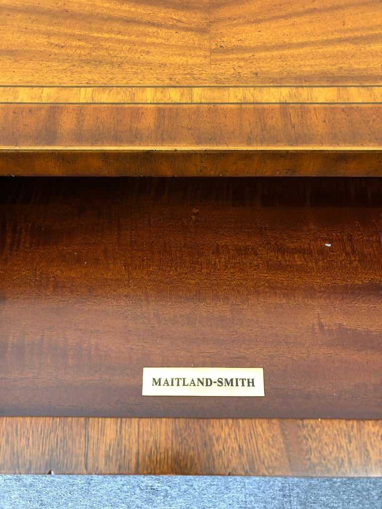 Impressive Maitland Smith Crotch Mahogany Regency Style Sideboard Console Table For Sale 1