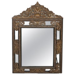 Impressive Baroque Style / Brass Embossed Beveled Wall Mirror