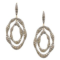 Impressive Black Brown Diamond 18 Karat Rose Gold Drop Earrings