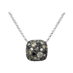Impressive Black Diamond White Gold Necklace