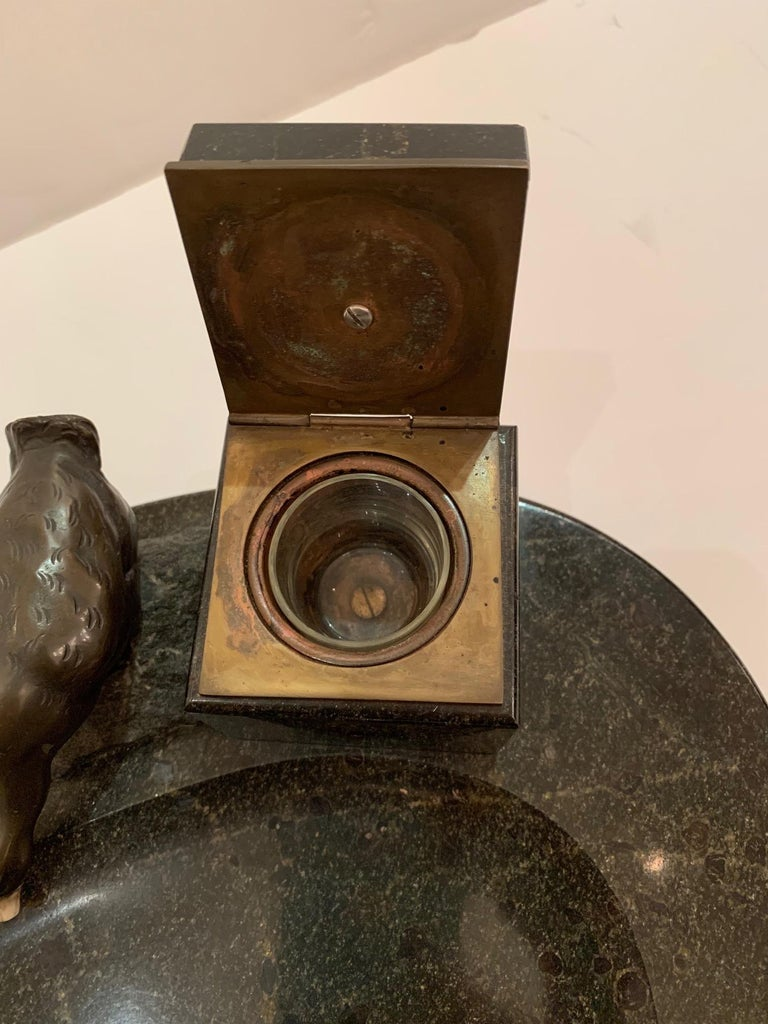 Impressive Black Marble Inkwell with Bronze Ducks For Sale 5