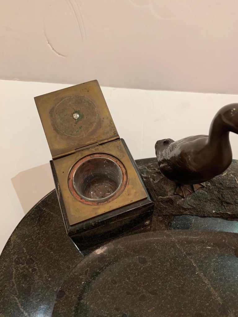Impressive Black Marble Inkwell with Bronze Ducks For Sale 6