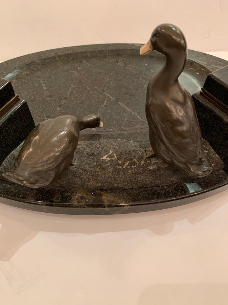 Art Deco Impressive Black Marble Inkwell with Bronze Ducks For Sale
