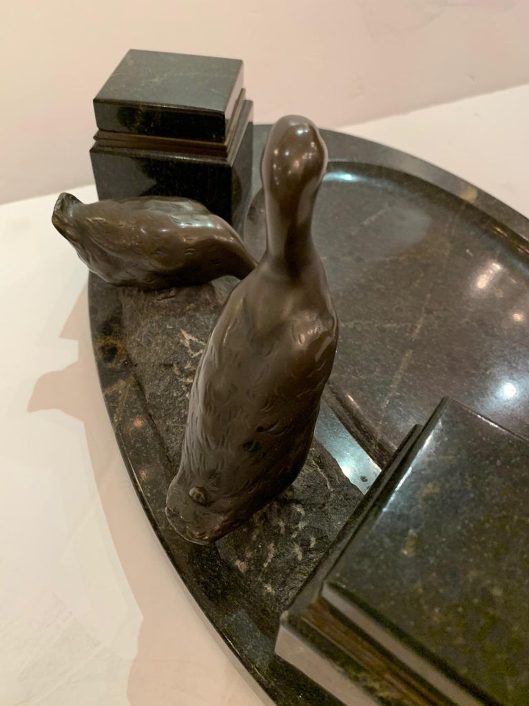 French Impressive Black Marble Inkwell with Bronze Ducks For Sale