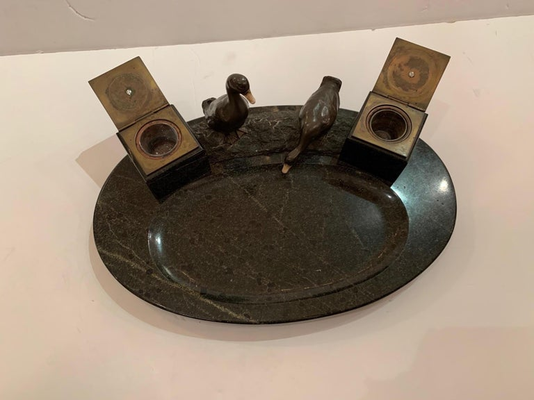 20th Century Impressive Black Marble Inkwell with Bronze Ducks For Sale