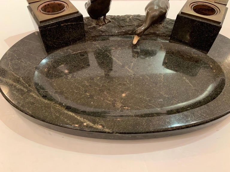 Impressive Black Marble Inkwell with Bronze Ducks For Sale 1