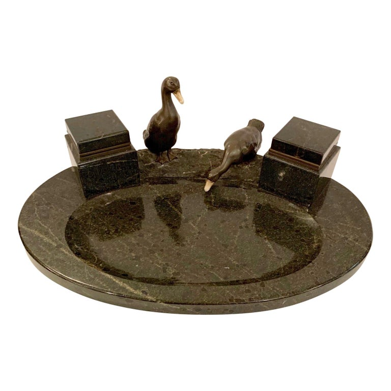 Impressive Black Marble Inkwell with Bronze Ducks For Sale