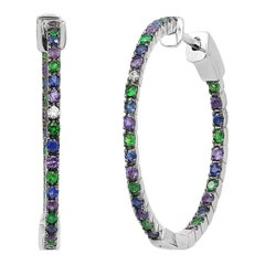 Impressive Blue Sapphire Amethyst Tsavorite Diamond White Gold Hoop Earrings