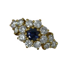 Impressive Blue Sapphire and 1.2ct Vvs Diamond 18ct Gold Cluster Ring