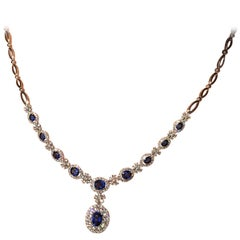 Impressive Blue Sapphire and White Diamond Royal Pendant Gold Necklace