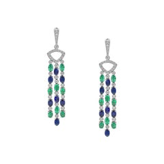 Impressive Blue Sapphire Diamond 18 Karat Emerald Gold Drop Earrings