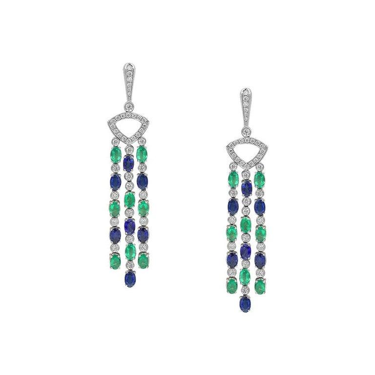 Impressive Blue Sapphire Diamond 18 Karat Emerald Gold Drop Earrings For Sale