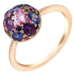 Impressive Blue Sapphire Diamond Amethyst Pink Sapphire Yellow Gold Ring