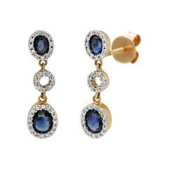 Impressive Blue Sapphire Diamond White Gold Drop Earrings