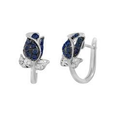 Elegant Blue Sapphire White Diamond Tulip Flower White Gold Earrings