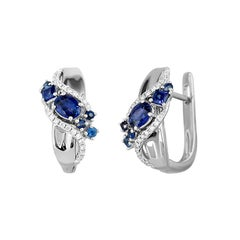 Impressive Blue Sapphire Diamond White Gold Earrings