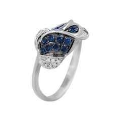 Elegant Blue Sapphire White Diamond Tulip Flower White Gold Ring