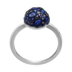 Impressive Blue Sapphire Diamond White Gold Ring