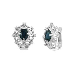 Impressive Blue Sapphire Diamond White Gold Stud Earrings