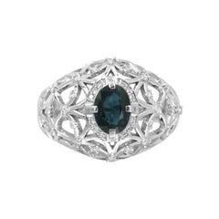 Impressive Blue Sapphire Diamond White Gold Stud Ring