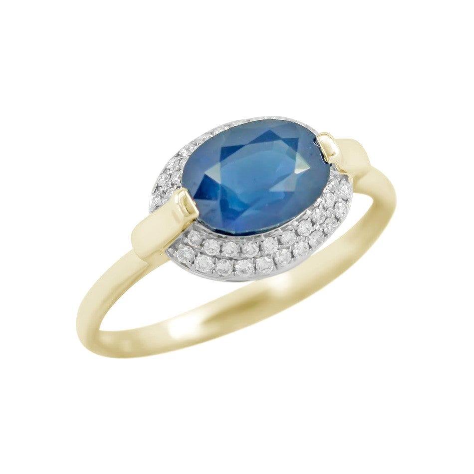 Impressive Blue Sapphire Diamond Yellow Gold Ring