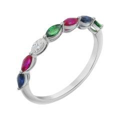 Impressive Blue Sapphire Ruby Tsavorite Diamond White Gold Ring