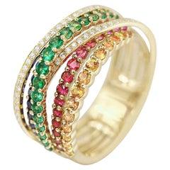 Impressive Blue Sapphire Ruby Tsavorite Diamond Yellow Gold Ring