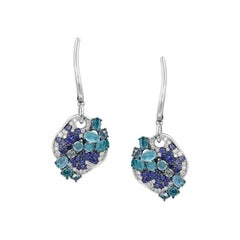 Impressive Blue Sapphire Topaz Diamond Cocktail White Gold Earrings for Her
