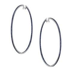 Impressive Blue Sapphire White Gold Hoop Earrings