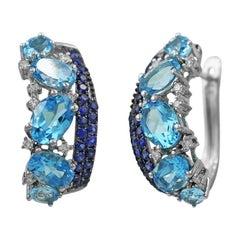 Impressive Blue Topaz Blue Sapphire White Diamond White Gold Every Day Earrings