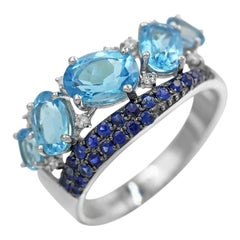 Impressive Blue Topaz Blue Sapphire White Diamond White Gold Statement Ring