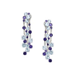 Impressive Blue Topaz Diamond 18 Karat Cordierite Gold Drop Earrings