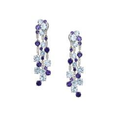 Impressive Blue Topaz Diamond 18 Karat Cordierite Gold Drop Earrings