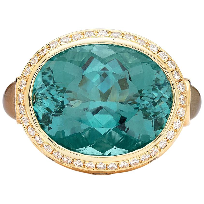 Impressive Blue Topaz, Moonstone and Diamond Ring