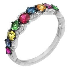 Impressive Blue Yellow Orange Sapphire Ruby Tsavorite Diamond White Gold Ring