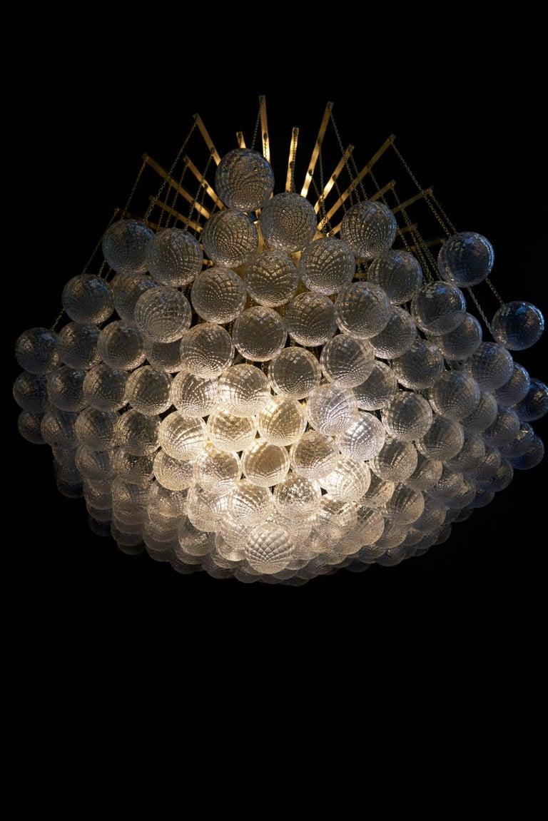Impressive brass and murano glass bubble chandelier