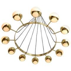 Impressive Brass and Opaline Chandelier in Stilnovo Style