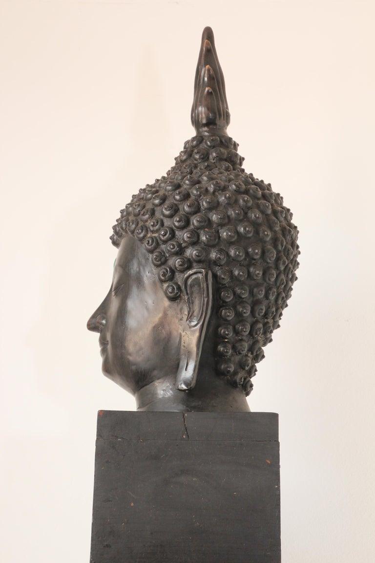 Impressive Bronze Head of Buddha on Pedestal For Sale 3