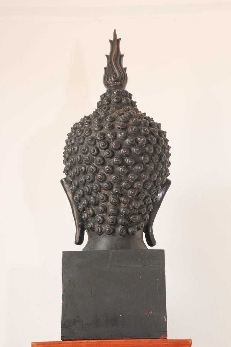 Impressive Bronze Head of Buddha on Pedestal For Sale 5
