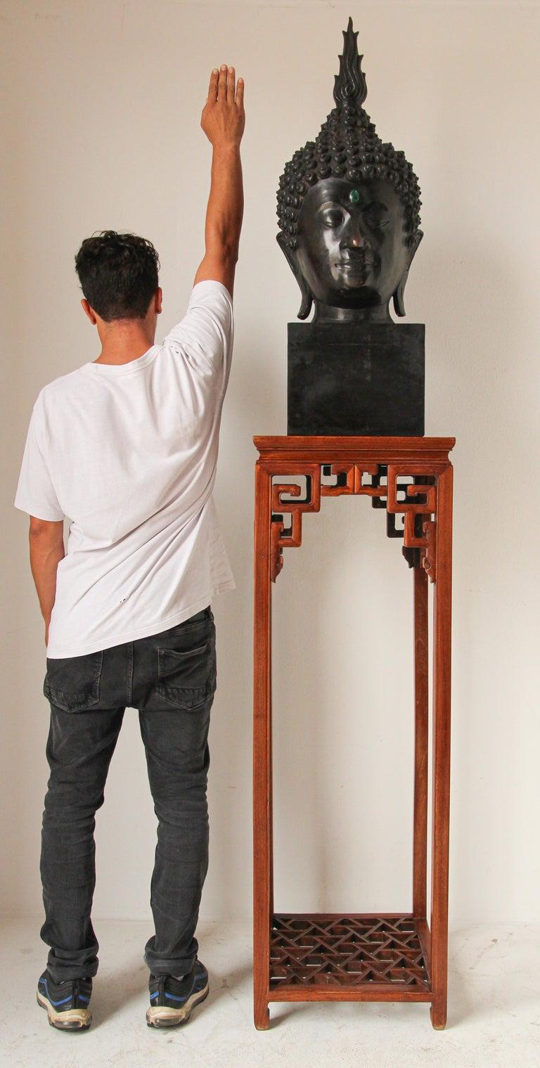 Impressive Bronze Head of Buddha on Pedestal For Sale 11