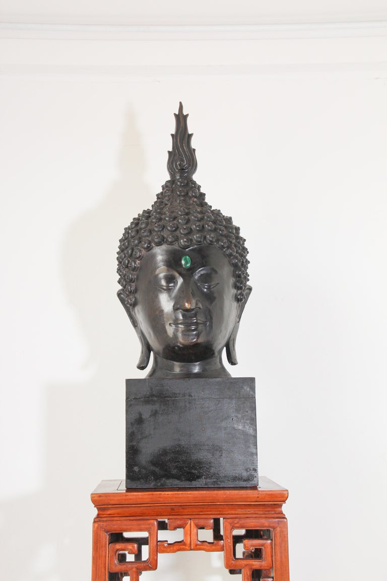Tibetan Impressive Bronze Head of Buddha on Pedestal For Sale