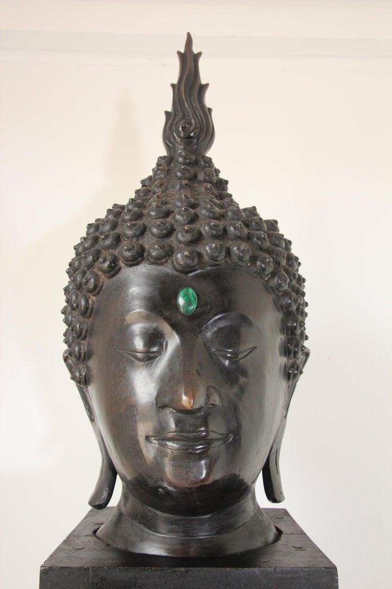 Thai Impressive Bronze Head of Buddha on Pedestal For Sale