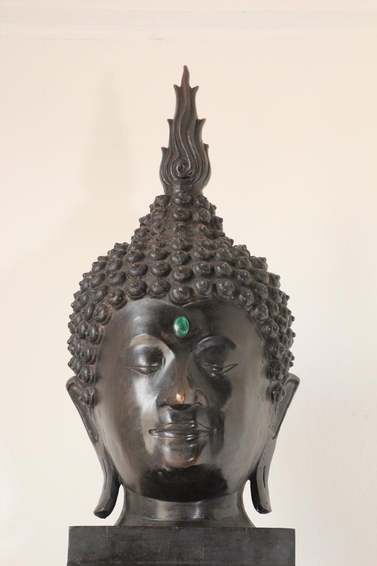 Cast Impressive Bronze Head of Buddha on Pedestal For Sale