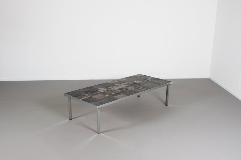 Belgian Impressive Brutalist Coffee Table by Pia Manu for Amphora, 1960s For Sale